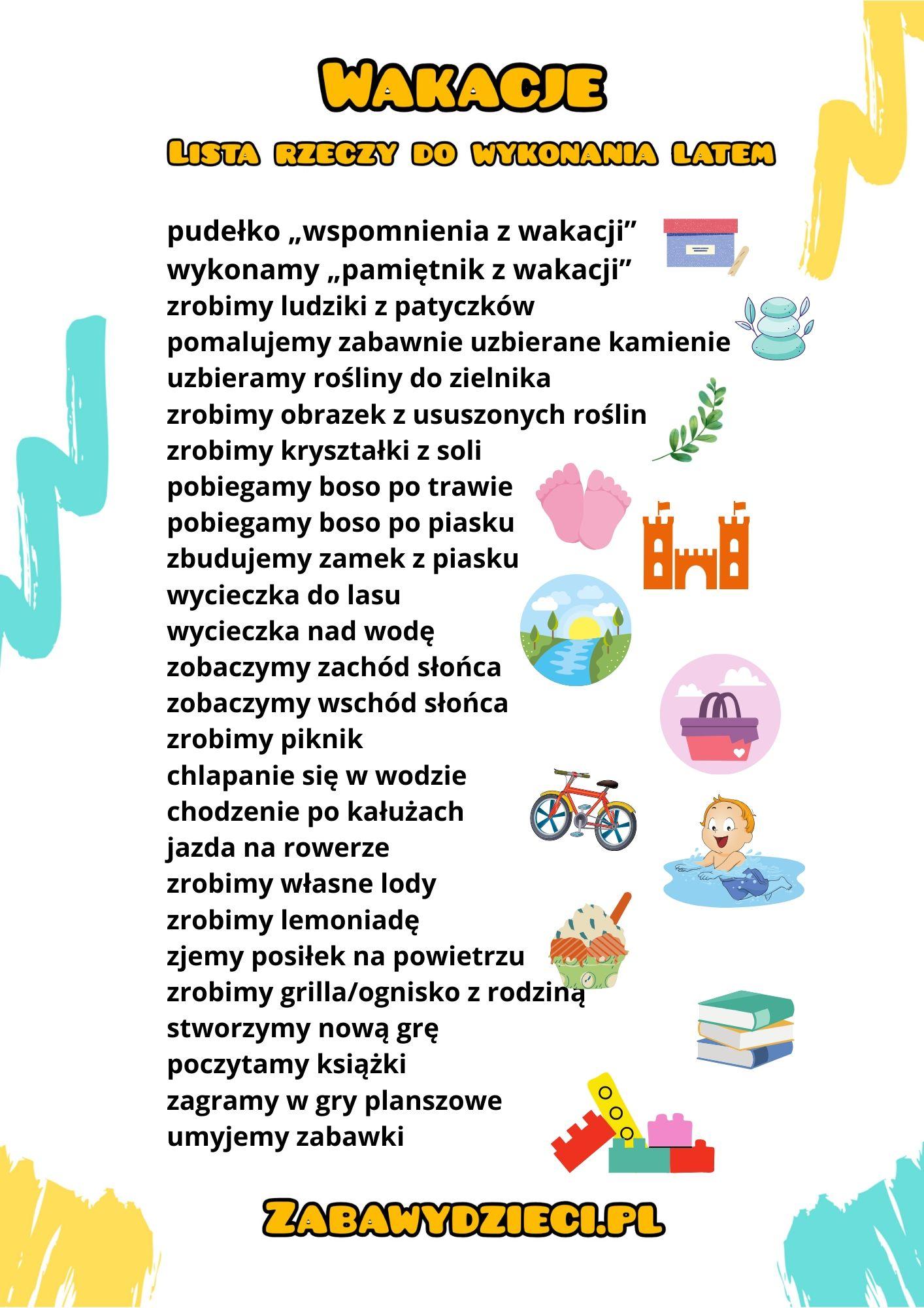 lista rzeczy do zrobienia w wakacje