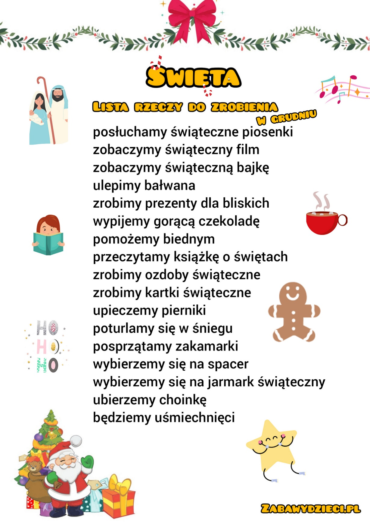 Checklista lista rzeczy do zrobienia w grudniu przed świętami dla dzieci