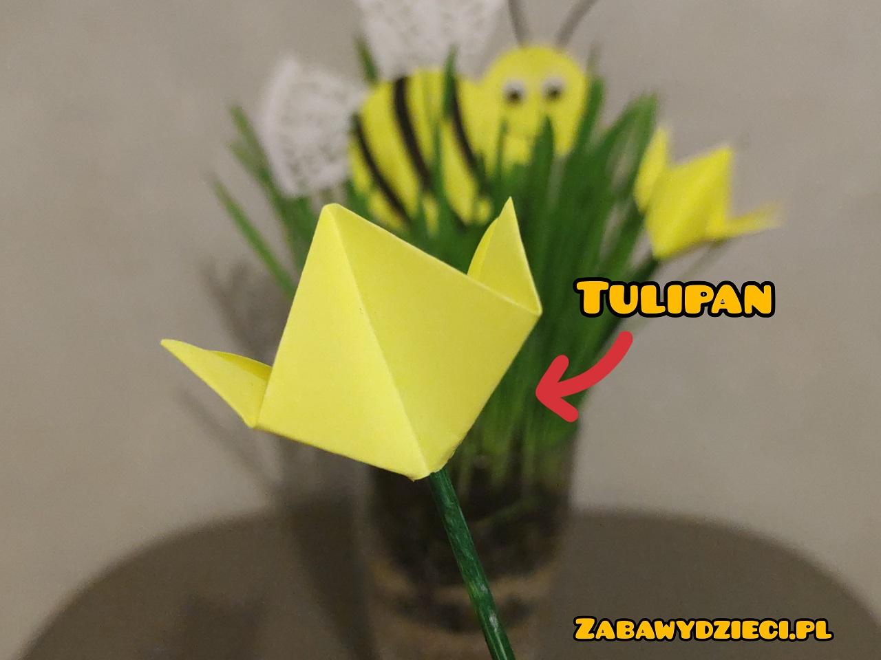 tulipan pik z papieru - wiosna diy dla dzieci
